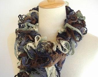 Ruffle Fashion Scarf Knit Crochet Brown Cream Denim Blue Tan Starbella Yarn