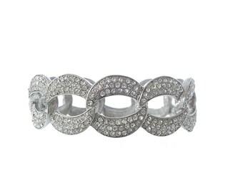 Vintage Wide Bangle Bracelet, Wide Rhinestone Cuff, 1950s Woven Statement Bangle, Fine Vintage Wedding Jewelry
