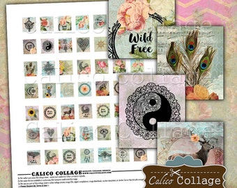 Boho, Scrabble Tile Size, Collage Sheet, Printable Sheet, Digital Collage, Printable Ephemera, Scrabble Size, Scrabble Images, CalicoCollage