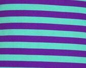 Knit mint purple stripes 1 yard