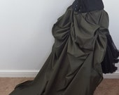FLASH OFFER Khaki Tie On Super Long Bustle Skirt-One Size Fits All