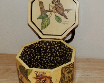 1970s OWL and Sparrow Hawk Docoupage Wood Box Purse by MB Davis Original