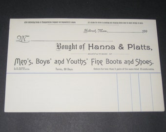 5 Blank NOS Victorian Receipts or Sales Slips from Hanna & Platts, Fine Boots and Shoes