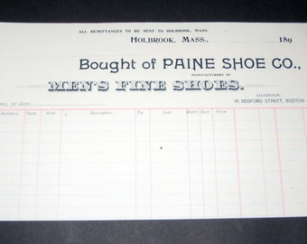 5 Blank NOS Victorian Receipts or Sales Slips from Paine Shoe, Co. - Men's Fine Shoes