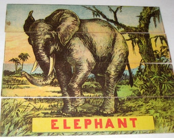 Antique Word Puzzle Game Pieces - 2 Puzzles - Bear, Elephant