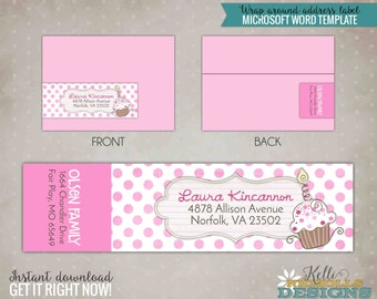 Pink Cupcake Party Return Address Labels, Pinkalicious Inspired, Wrap Around Sticker - Instant Download #B101