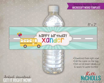 Wheels on the Bus Water Bottle Label Template, Custom School Bus Birthday Party Decoration, Instant Download #B121