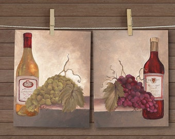 Red and White Wine and Grapes paintings, set of 2, 8 x 10 acrylics by Mary Beth Medley