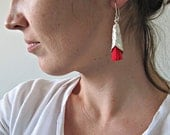 Long Silver Dangles wit red accent, Contemporary Jewelry Design