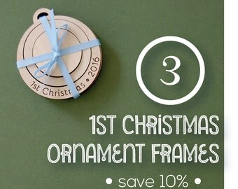Engraved Embroidery Frame for First Christmas 2016 Ornaments MULTI PACK of 3 DIY wood frames for hand embroidery