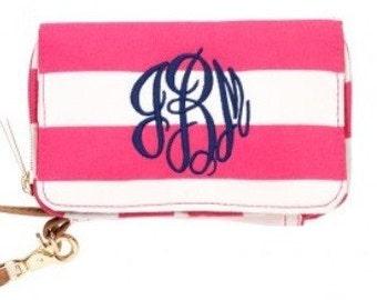 Monogram Wristlet pink stripe