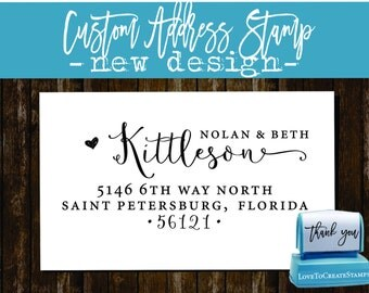 Calligraphy Handwriting Script Custom Return Address Stamp - Personalized SELF INKING Something Blue Wedding Stationery Stamp - Style 1162E