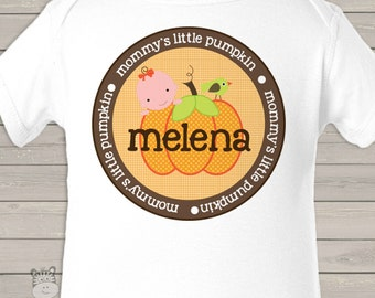 thanksgiving personalized bodysuit-mommy's little pumpkin / punkin bodysuit perfect for fall, halloween and thanksgiving MLPONES