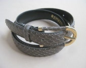 Taupe Genuine Snakeskin Belt by Rayman Ridless