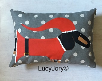 Dachshund   Black and Tan Hand Painted Christmas Pillow