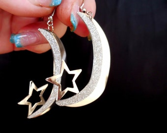 CHEROKEE Moon w STAR Earrings and Light Sterling 925 W HYPO Posts~So Gorgeous Boho N Light!!