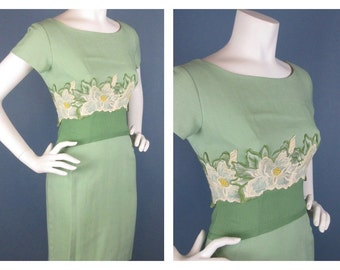 Vintage 1950s Summer Dress with Appliqué, Green / White, Sz S