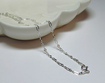 18 Inch Silver Necklace Chain, 925 Sterling Figure 8 Figuro Fancy, Italy, Minimalist  1.1mm