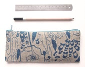 Organic Linen Pencil Case, College Student Gift, Blue Zipper Pouch, Screen Print Pencil Pouch, Valentine's Gift for Her, Floral Cosmetic Bag
