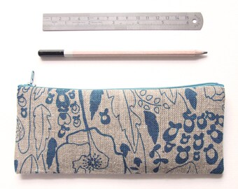 Linen Pencil Case - Blue Wildflower Motif, Back to School