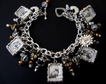 Cat Tarot Card Bracelet, 10-Picture Double-Sided Photo Charm Bracelet, Cat Tarot Card Jewelry, Fortune Teller Charm Bracelet