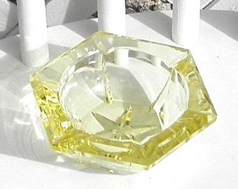 Yellow Pressed Glass Star Ashtray Candle Holder Tea Light Vintage