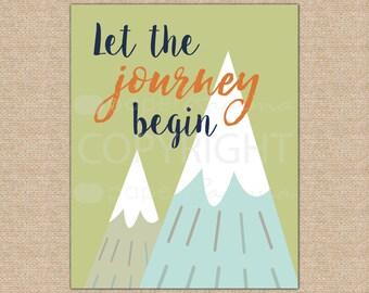 Let the Journey Begin, Adventure Nursery Decor, Mountain Print, Travel Nursery Art, Kids Wall Art // Art Print or Canvas // N-XA01-1PS AA1
