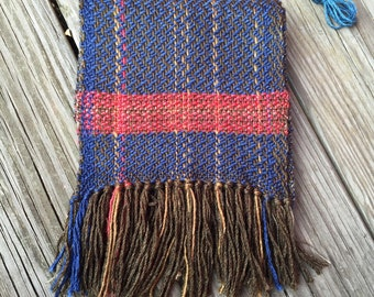 Campfire Blue and Red Handwoven Scarf