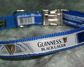 Adjustable Collar from Recycled Guinness Black Lager beer labels