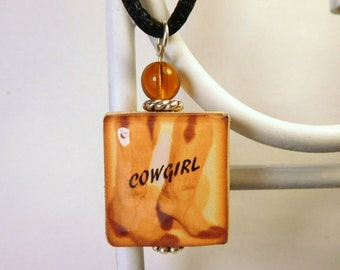 COWGIRL Jewelry / Cowboy Boots / Western Wear SCRABBLE Pendant / Upcycled Art / Beaded Charm