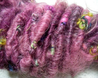 Handspun Corespun Art Yarn Super Bulky Soft Lincoln Longwool in Smoky Raspberry Pink by KnoxFarmFiber for Knitting Crochet Embellishment