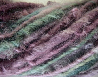 Handspun Soft Curly Textured Super Bulky Border Leicester Wool Art Yarn in Turquoise Green and Lavender by KnoxFarmFiber for Knit Weave
