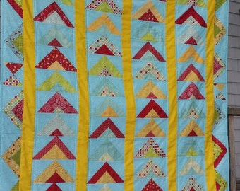 Teal throw blanket quilt aqua red green yellow Sweetwater Wishes fabric triangle scrappy quilt