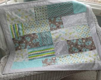 Teal gray tan modern flannel baby quilt crib blanket baby shower unisex baby gift