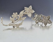 Art Deco Brooch Set, Marcasite Earrings, Sterling Silver Marcasite Brooch Pin, Forget Me Not Brooch, Vintage 1920s Art Deco Jewelry