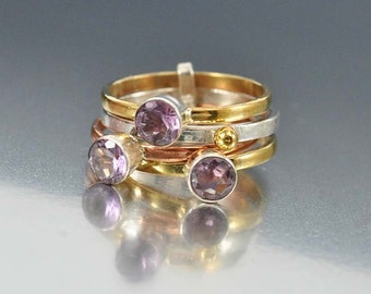 Amethyst Ring, Tri Gold Stacking Rings, Sterling Silver Stacking Ring Set, Gemstone Band Ring, Birthstone Ring, Wide Gold Band Ring