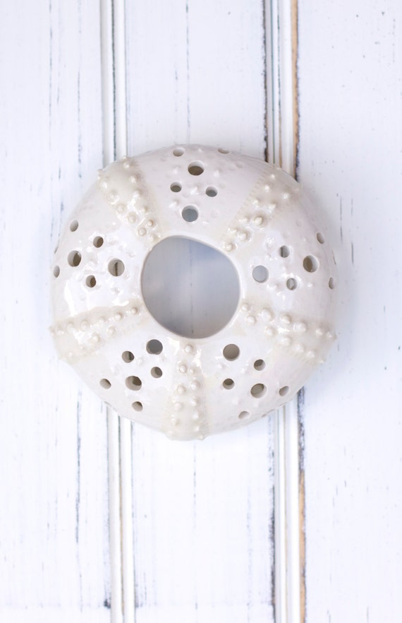 medium urchin wall hanging, urchin tabletop sculpture, white