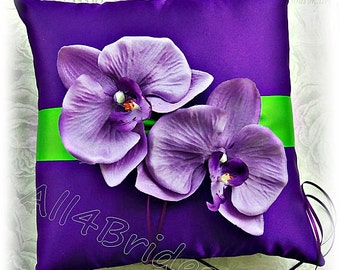 Purple and green wedding ring pillow, purple orchid ring cushion, ring bearer wedding accessories