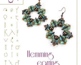 Beading tutorial / pattern Hemming earring. Beading instruction in PDF – for personal use only
