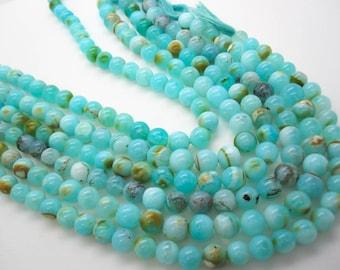 Blue Peruvian Opal Beads, Peruvian Opal Beads, Blue Opal Beads, Round, Aqua Gemstone, Wholesale Opal, SKU 4975
