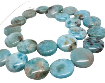 Larimar, Larimar Beads, Luxe AAA, 18mm, Smooth Coin Shape, SKU 4373A
