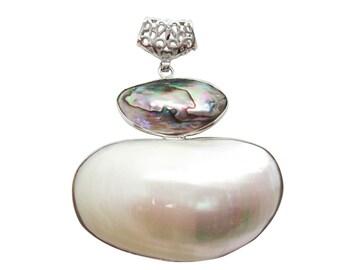 Abalone Pendant, Shell Pendant, Silver Plated Pendant, SKU 5080
