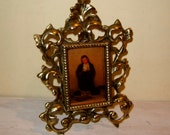 Antique Brass FRAME Ornate Victorian Baroque Easel Back Stand Small Picture Photo
