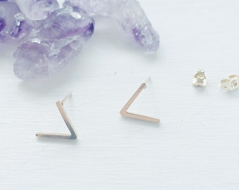 Minimalist Earrings, Geometric V Chevron Studs, 18k Gold Plated, Post Earrings, Gold Earring Studs