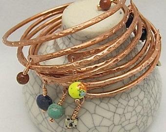 Wholesale Copper Bracelet Bangles, Stackable Copper Bangles, Adjustable Bangle. 100 pure copper. Set of 5.