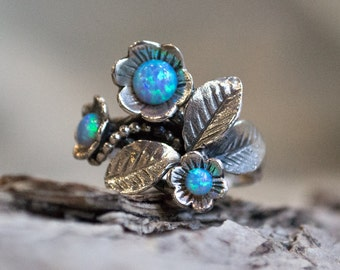 Botanical ring, Sterling silver ring, Blue opals ring, mothers ring, birthstones ring, leaf and flowers ring - Blue grass R1696-1