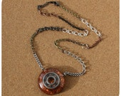 Roller Derby Bearing Necklace - hand cast resin pendant in copper