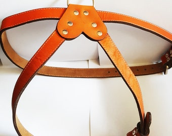 XL Cool  Leather Dog Harness Brown XL