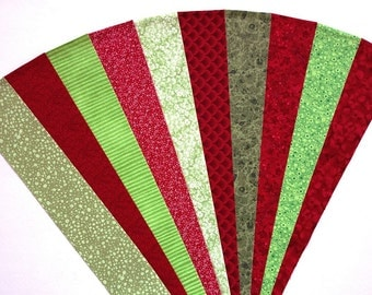 Fabric Green Red Cotton Jelly Roll Quilting Strip Pack Material Die Cut 20 Strips (sku JR210-GRREyd)