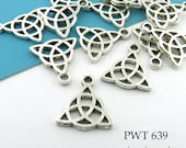 Small 15mm Celtic Knot Trinity Pendant Charm, Triquetra Charm, Antique Silver, Lead Free, Nickel Free (PWT 639) 12 pcs BlueEchoBeads